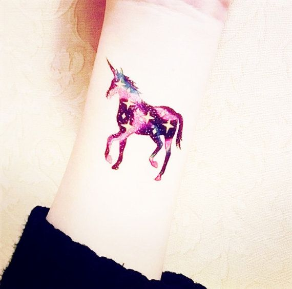 2pcs Unicorn Galaxy tattoo InknArt Temporary Tattoo by InknArt