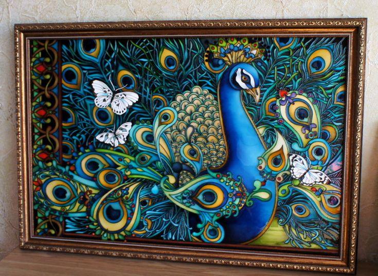 """Gallery.ru / """"Павлин"""", стекло 40*60 + багет - Картины - enehi"""