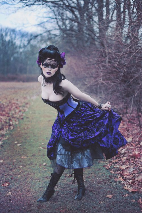 Alternative Steampunk Wedding Gown Purple Decadence Velvet by KMKDesignsllc