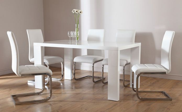 Stockholm & Perth White High Gloss Dining Table & 4 6 Leather Chairs Set - White