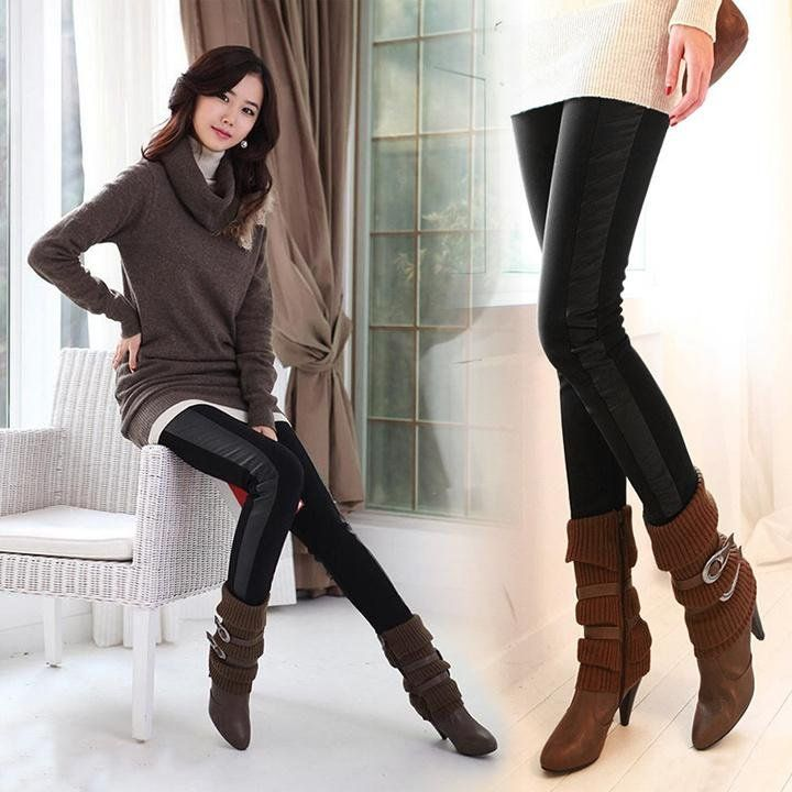 Sexy Black Wet Look Faux Leather Leggings Treggings Pants Shiny Tights ...
