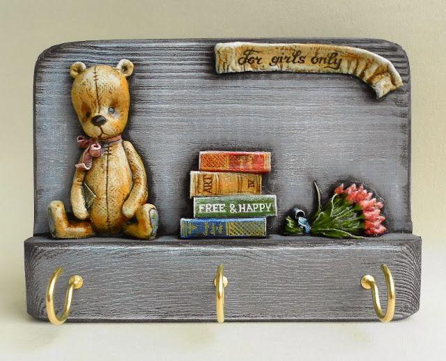 Girls&Bears: Bas-relief made of papier-mache.