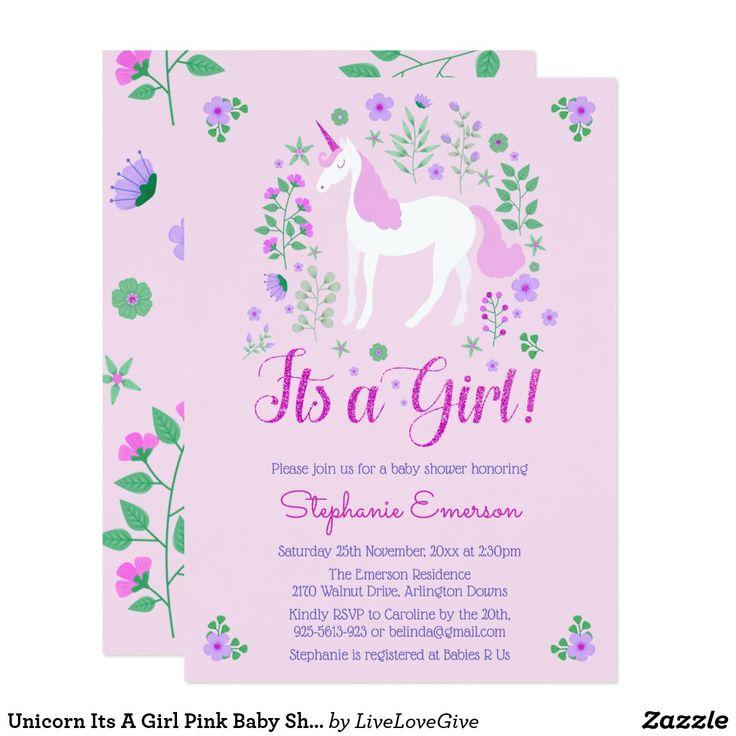 Unicorn Its A Girl Pink Baby Shower Invitation Zazzle