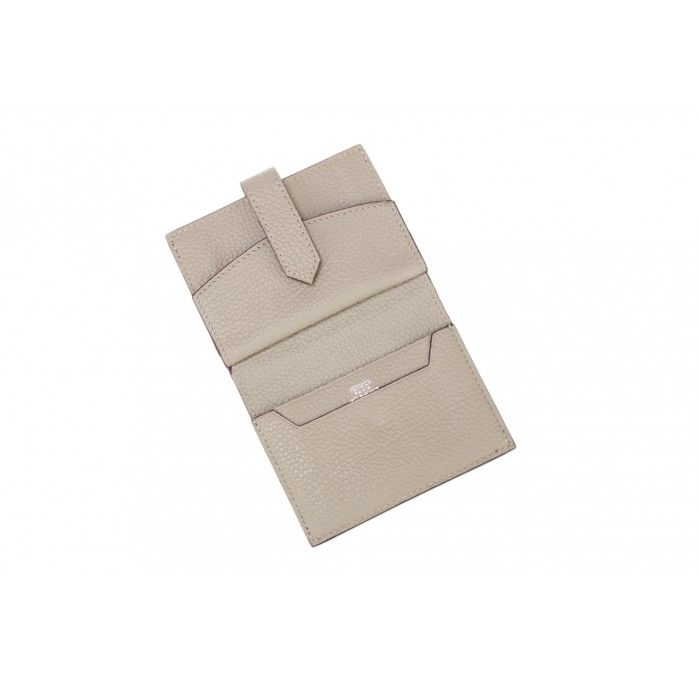 Hermes Grey Leather Card and Coin Case