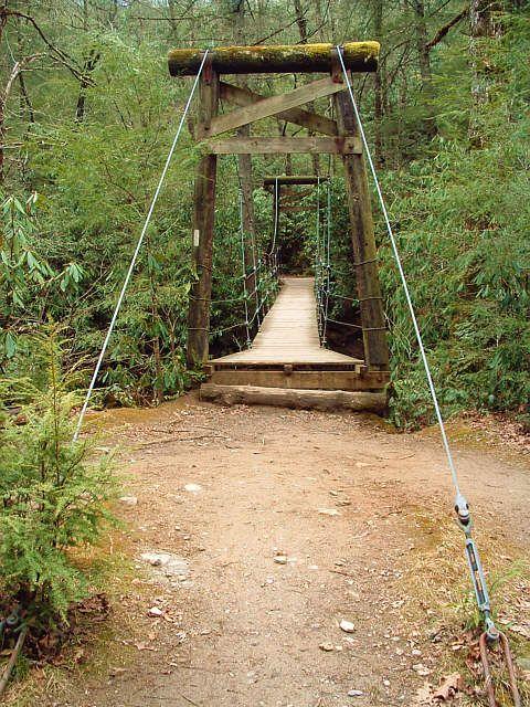 Suspension bridge over the Mills River, Pisgah National Forest