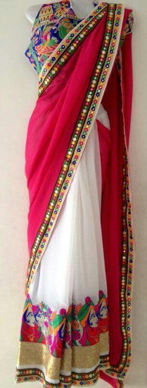 Kutch work lehenga saree