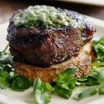 Grilled Filet Mignon with Herb Butter & Texas Toasts - This dish is simply luxurious: grilled beef tenderloin smothered in a vibrant herb butter served on top of a garlicky slab of whole-grain toast. And yes, with only about 303 calories and 14 grams of fat total, this steakhouse-worthy entree can be part of a healthy diet. If you like, make extra herb butter to top chicken, fish or even a grilled pork chop.