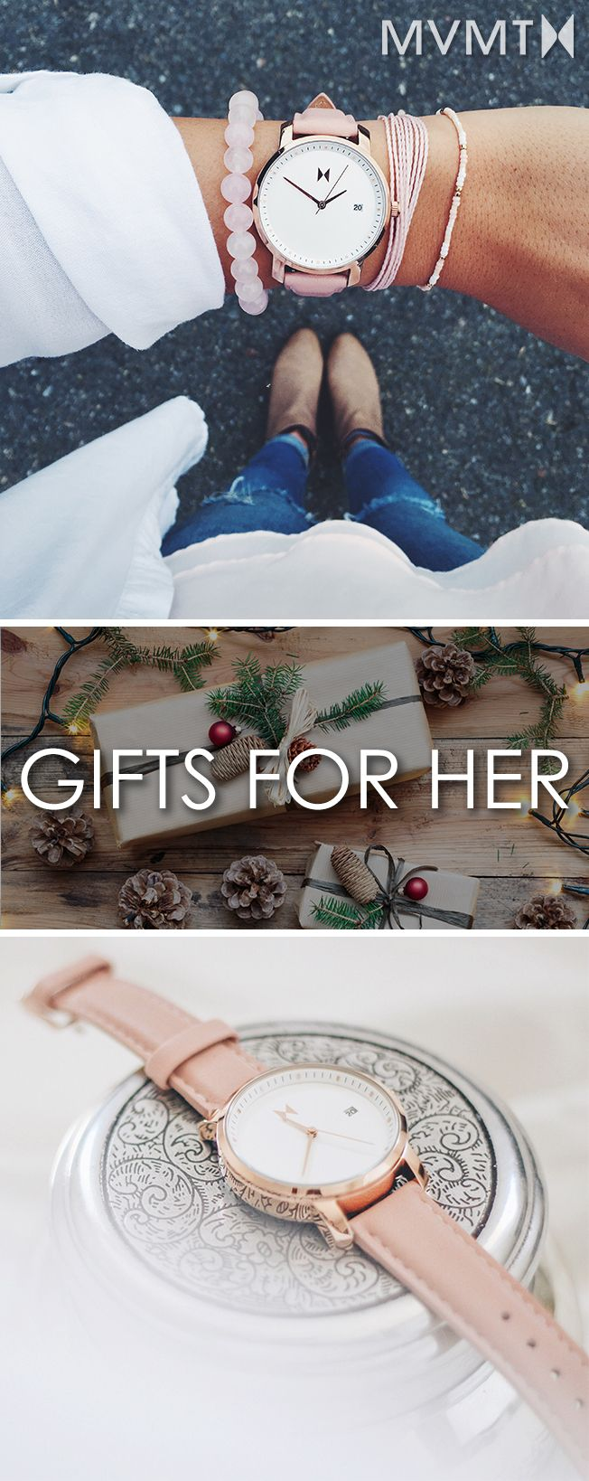 Get a gift for her this holiday season! We believe style should be inspired by creative spirit and the freedom to express yourself. The MVMT Watches initiative is to offer classic minimalist designs with a twist of elegant chic flavor, all at a revolutionary price. This watch would make a great addition to your accessory collection. Let your style make a statement! Click the buy button to get it now!