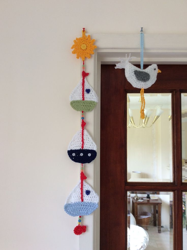 Sail boat bunting, from a free pattern, another lovely hanging for the beach hut.