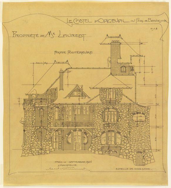 Tinta negro sobre papel de calco realizado por Hector Guimard. Creada por adición