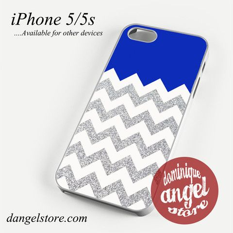 Navy Blue Silver Glitter Chevron Phone case for iPhone 4/4s/5/5c/5s/6/6 plus