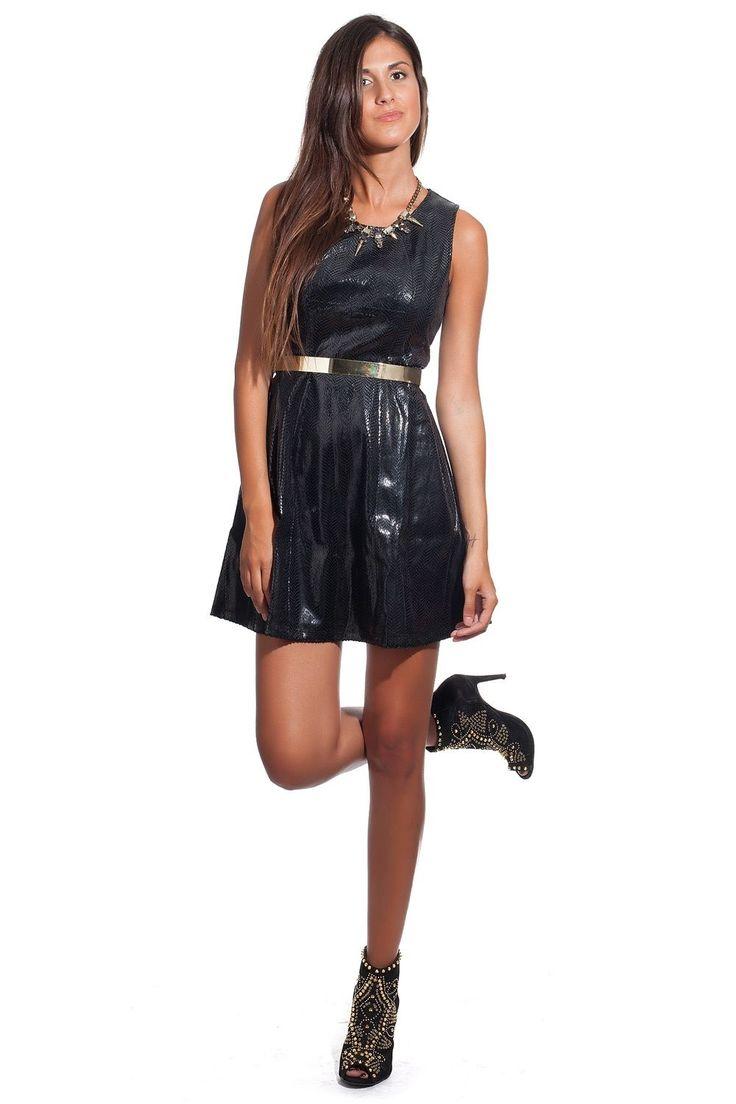 Compra online, compra en Canarias, Tienda online canaria sin gastos de envío para Canarias: Vestido Negro efecto Cuero Brillante