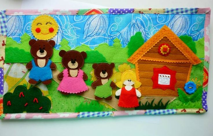 """Сшился на заказ пальчиковый театр """"Машенька и три медведя"""" с декорациями. Подробности под кат. Домик можно использовать как для разыгрывания сказки, так и для игры в семью медведей. Машенька и мишка одинакового размера) Всех персонажей можно одевать на пальчики. В домике две комнаты: кухня и спальня. Тарелочки убираются в навесной шкаф. На полочке хранятся маленькие лакомства: мед ..."""
