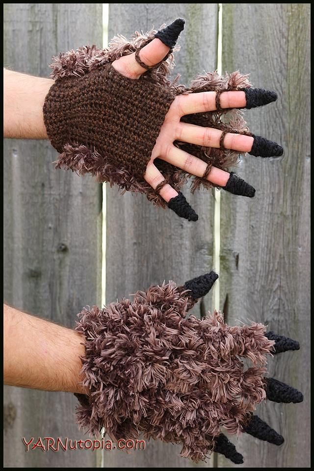 Beast Costume Gloves - Free crochet pattern and video at YARNutopia By Nadia Fuad.