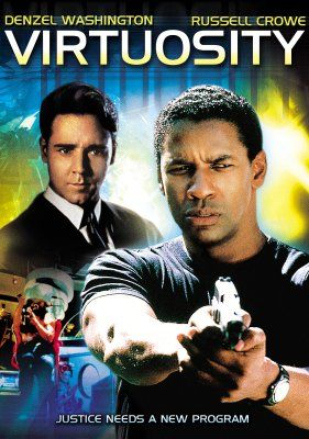 Virtuosity movie, Denzel Washington, Russell Crowe, male nudity, sci-fi, action