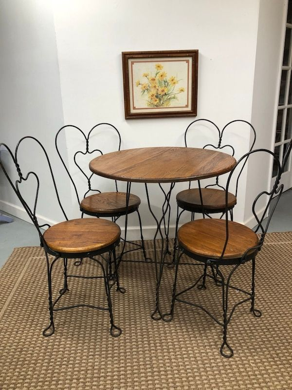 Terrific Used Vintage Ice Cream Parlor Table And Chairs For Sale In Evergreenethics Interior Chair Design Evergreenethicsorg