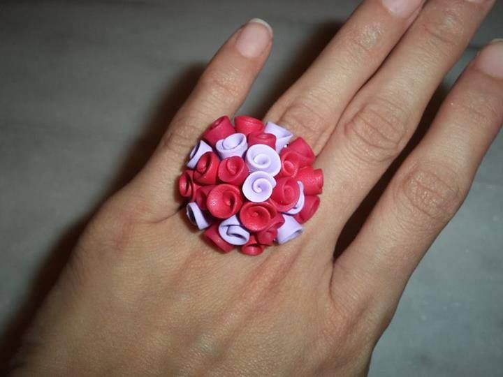 polymer clay roses ring https://www.facebook.com/ClayMiniGifts/