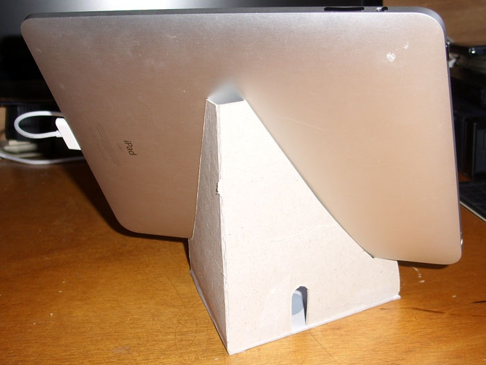 tablet stand made of cardboard with pdf crafty. Black Bedroom Furniture Sets. Home Design Ideas