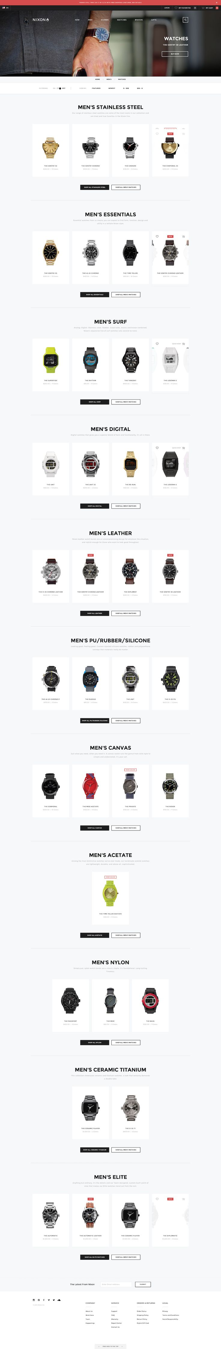 product archive, with products organized by category via Nixon watches