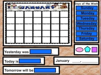 This set contains 1 monthly calendar (JANUARY) Activinspire flip chart. They are interactive calendar flipcharts containing:  *Months of Year *Calendar (Days of Week and Today, Tomorrow, Yesterday) *Weather Graph *Days in School (Zero the Hero 100th Day) *100's Chart (with highlighters and concealers) *Lost Tooth Graph *BIrthday Graph *Number of the Day (with spinning number generator) for base ten activities *Piggy Bank - for identifying and counting coins