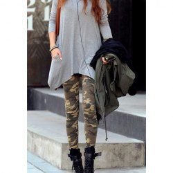 $5.93 Personalised Camouflage Print Skinny Leggings For Women
