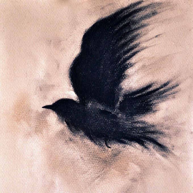 Original Charcoal Drawing Raven on a Branch Dark by AbstractArtM