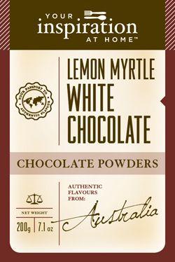Lemon Myrtle Choc Powder  Unique and exquisite flavour, a must have ingredient