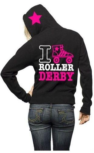 I Love Roller Derby Hoodie on www.amightygirl.com