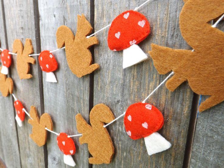 Red Squirrel, Garland, Mushrooms, Felt Garland, Squirrel, Woodland Nursery, Squirrel Bunting Woodland Bunting, Autumn Garland, Fall Garland, by FeltWitch on Etsy https://www.etsy.com/uk/listing/122881449/red-squirrel-garland-mushrooms-felt