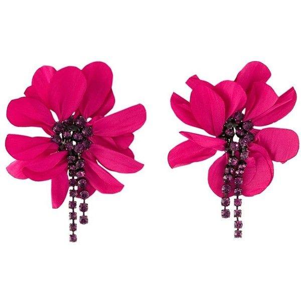 Lanvin Oversized Flower Clip-on Earrings ($590) ❤ liked on Polyvore featuring jewelry, earrings, accessories, fuchsia earrings, blossom jewelry, fuschia jewelry, lanvin and pink flower earrings