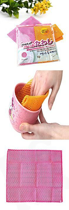 Dillards Dishes. Innovative Dish Washing Net Cloths / Scourer - 100% Odor Free / Quick Dry - No More Sponges with Mildew Smell - Perfect Scrubber for Washing Dishes - 11 by 11 inches - 2PCS - Pink/Yellow.  #dillards #dishes #dillardsdishes