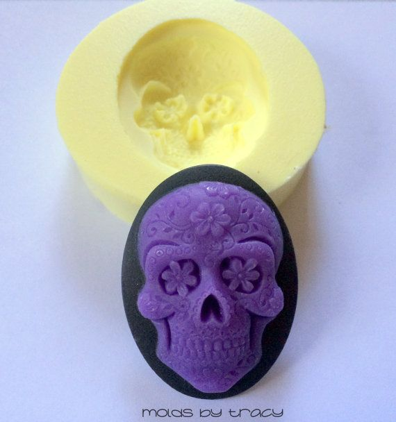 40X30MM Gothic Purple Day of the Dead Sugar by ThisNThatByTracy