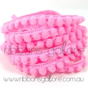 baby pom pom trim   hot pink (10mm wide) [per metre] - $1.40 : Ribbons Galore, your online store for the best ribbons #ribbonsgalore #ribbons