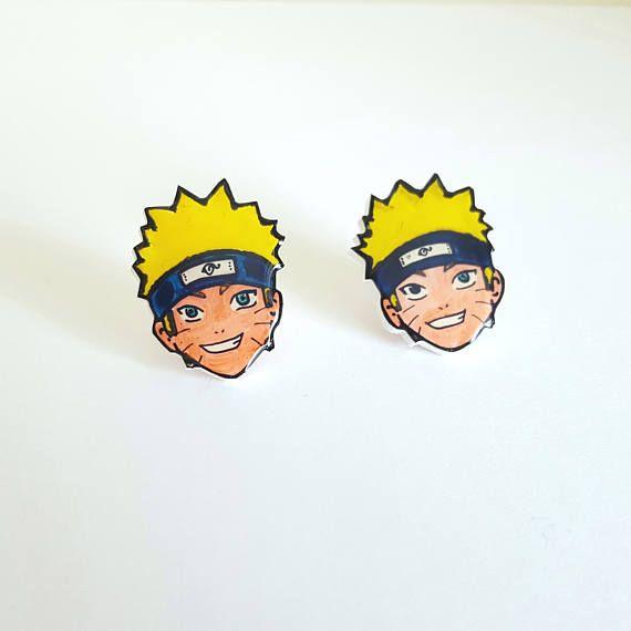 Naruto Uzumaki Stud Earrings Shrink Plastic Cute Gift