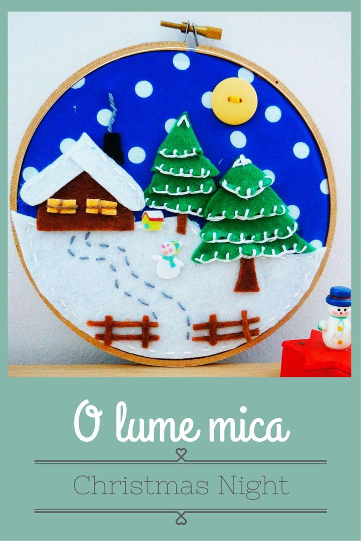 Christmas, decoration, handmade, dyi, snow, winter, embroidery hoop