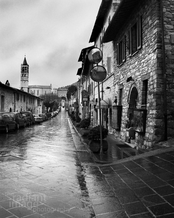 Assisi italy black and white fine art photograph italian city street print