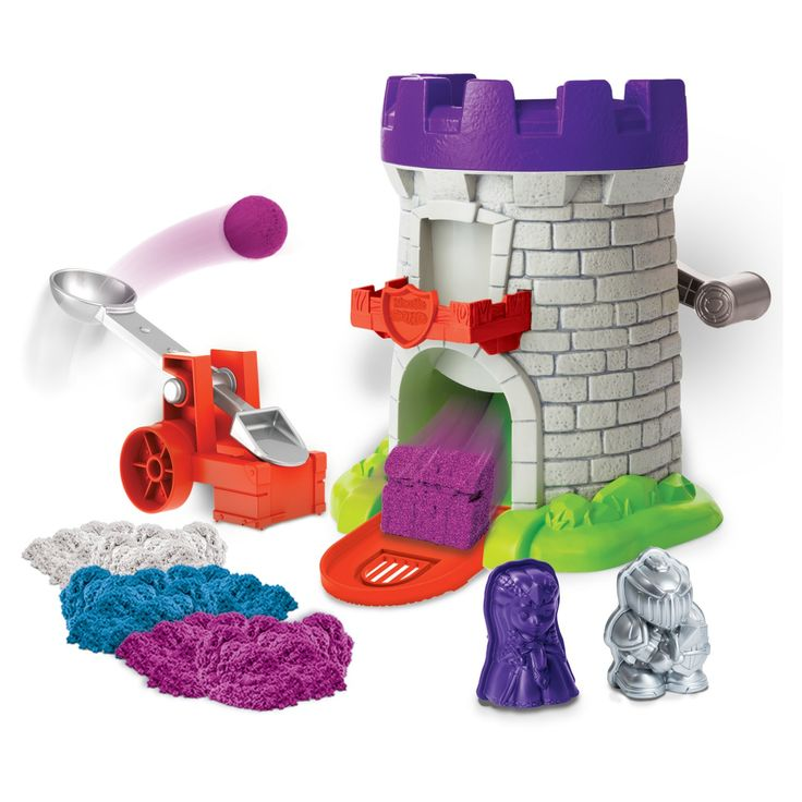 Create, build and defend your sand kingdom with the Kinetic Sand magic molding tower! Kinetic Sand is the squeezable sand you can't put down! It's the magical, moldable sand that flows through your fingers, leaving them completely dry. With the magic molding tower you can create your own characters out of Kinetic Sand. Place Kinetic Sand into the top of the tower, then crank the handle three times and watch as a unicorn, Dragon or treasure are magically created! Mold a war...