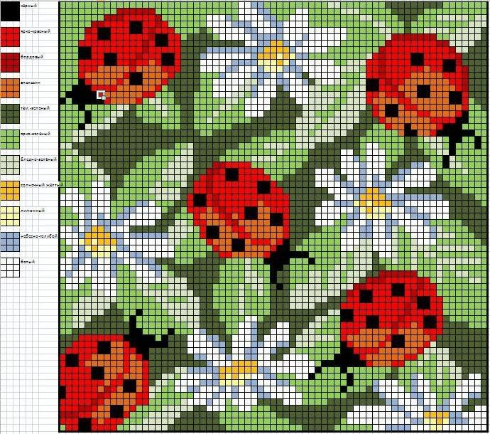Cross-stitch Ladybugs & Daisies, part 2...    Gallery.ru / Фото #4 - Подушки схемы - olgavovk
