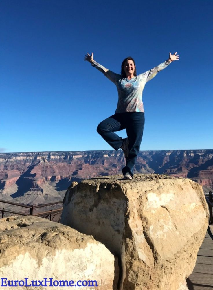 Yoga at the Grand Canyon on our road trip from South Carolina to California to deliver a truck of antique French furniture to a customer. Beautiful views for yoga! EuroLuxHome.com.