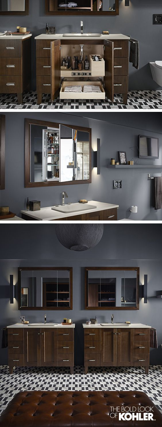 The ideal grooming space for busy couples. Perfect coordination between the mirrors and the vanities helps to create a seamless look.