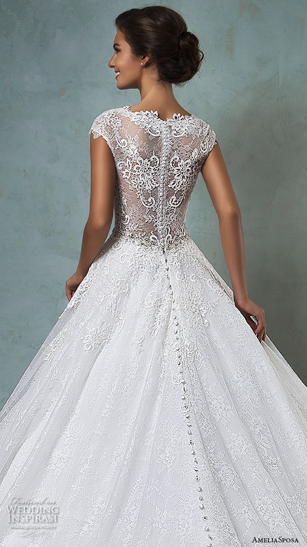 amelia sposa 2016 wedding dresses lace cap sleeves v neckline embroidered lace bodice gorgeous a line ball gown wedding dress dominica back closeup