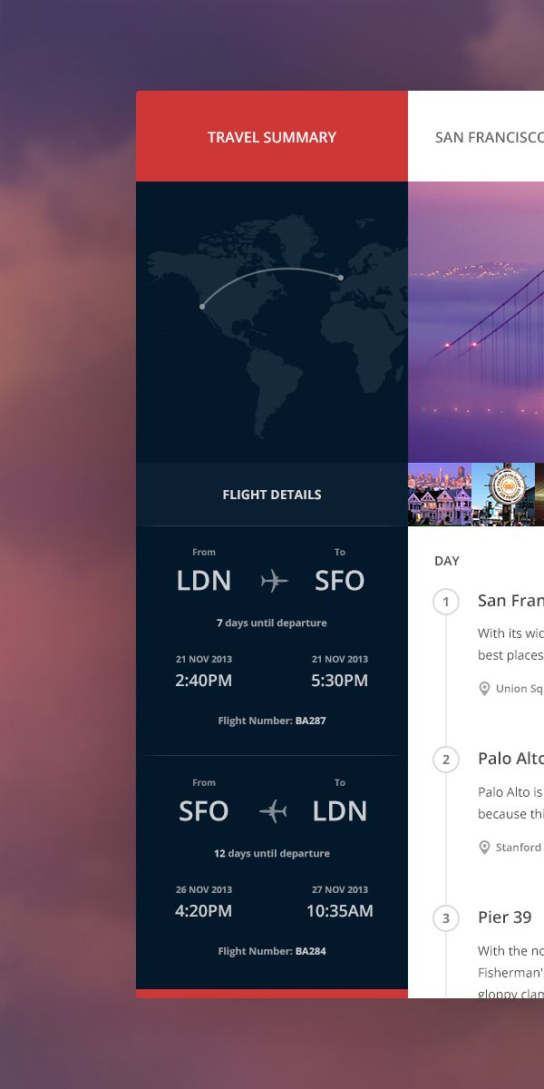 Travel Summary on Behance #UI