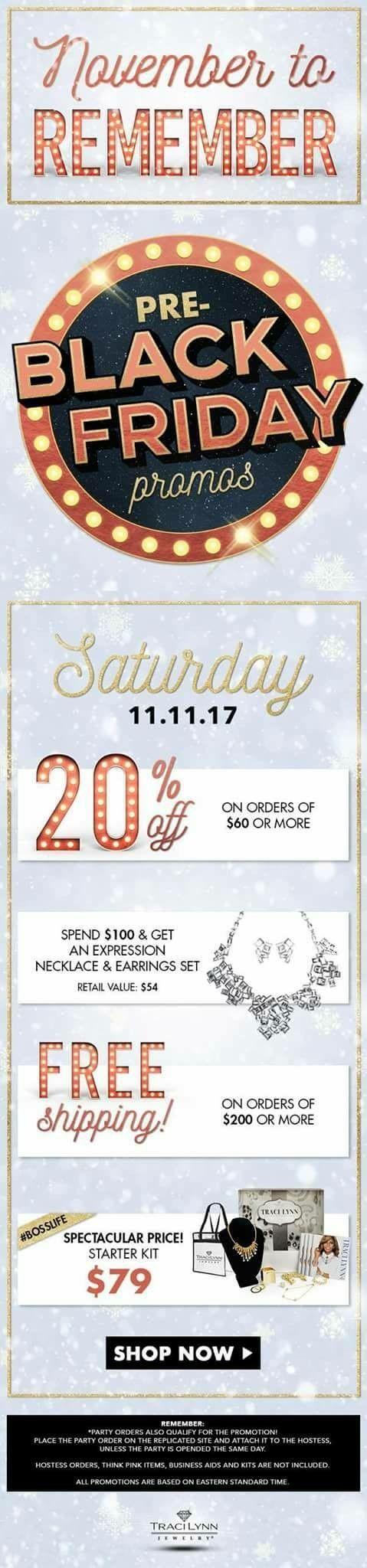 Skip Ahead of the Line & Take Advantage of This Weekend Pre-Black Friday Promo Sale 20% off $60/ Free Necklace with a $100 Purchase or more/Free Shipping with a $200 or more Purchase  The holidays are around the corner.  Please connect with me to purchase your gifts for the special people in your life. You can also shop  http://www.TraciLynnJewelry.com/CristinaRodriguezBaez You can Join the Team for $79 (Today) $89 (Tomorrow) #BeYourOwnBoss