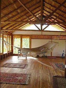 Kinda like this except black window frames and the rest white for yoga/solarium.  With hanging hammock chairs.