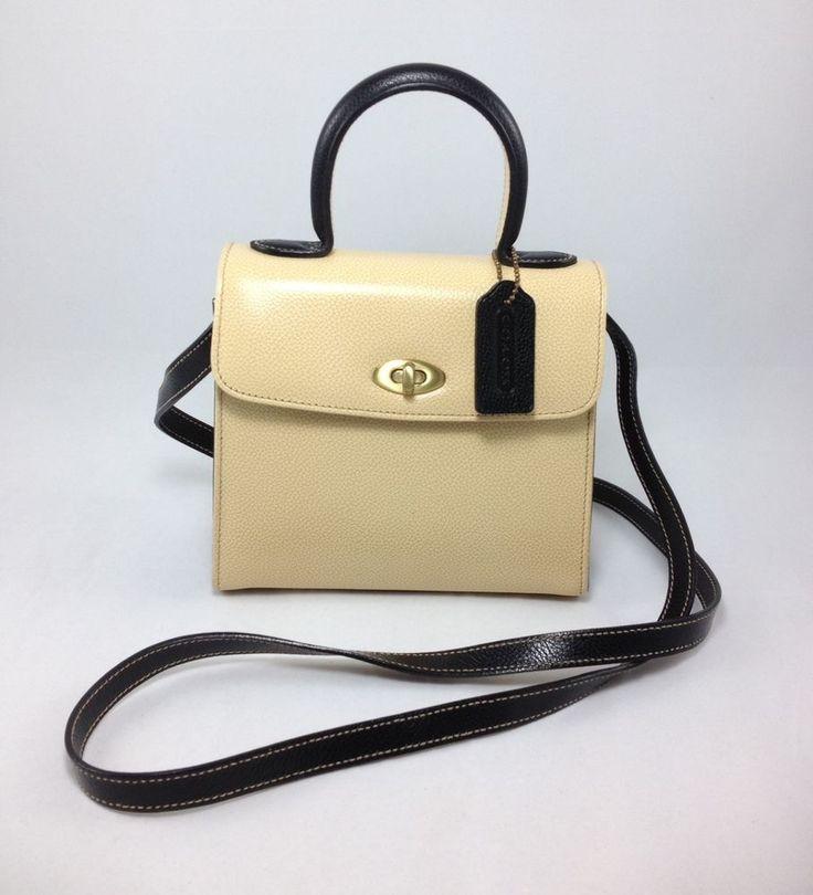 Vintage COACH Leather Cream and Navy Blue Ladies Mini Handbag Cross-body -  MINT #