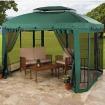Brylanehome Water-Resistant Frame Gazebo  The ultimate in outdoor furniture, this gazebo is constructed with a rust-resistant, powder-coated heavy gauge tubular steel frame that will stand up to tough weather and keep a ventilated roof over your head for years to come. By letting in a breeze and keeping pests out, our gazebo adds doors to the outdoors.