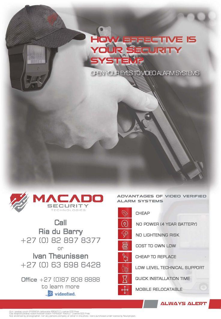 Macado Security Technologies: # Videofied dealer - Tel: +27(0)87 808 8888 email: info@macado.co.za website: www.macado.co.za