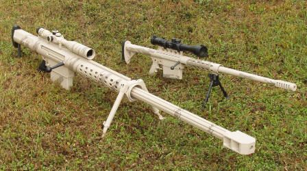 The ultimate in long distance defense a 20mm rifle even has sound suppression. Check out the video at the bottom of the page