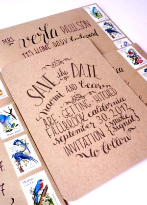 Kraft Paper Calligraphy Save the Dates3 300x418 Naomis Kraft Paper and Calligraphy Save the Dates