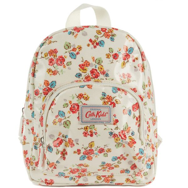 Cath Kidston Cream Woodland Rose Mini Backpack (€22) ❤ liked on Polyvore featuring bags, backpacks, mini backpack, cargo bag, floral backpack, cath kidston backpack and zipper bag